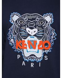 KENZO - Blue Tiger Embroidered Cotton Sweatshirt for Men - Lyst