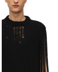 CALVIN KLEIN 205W39NYC Black Destroyed Acrylic Knit Sweater for men