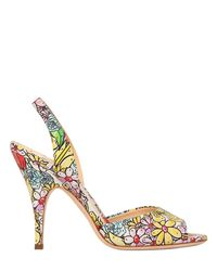Moschino Multicolor 100mm Floral Printed Leather Sandals