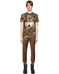 Etro Brown Wolf Printed Cotton Jersey T-shirt for men