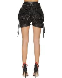 DSquared² Black High Waist Leather Military Shorts
