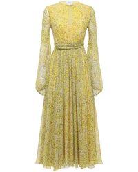 Giambattista Valli Floral シルクジョーゼットドレス Yellow