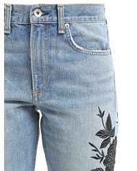 Rag & Bone Blue Marilyn Embroidered Cotton Denim Jeans