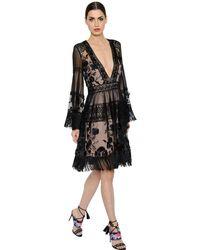 Alberta Ferretti Black Fringed Tulle & Macramé Lace Dress