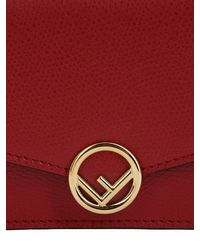Fendi Red Micro Leather Card Holder Bag