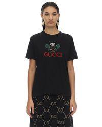 T-Shirt En Jersey De Coton Imprimé Gucci en coloris Black