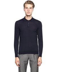 Drumohr Blue Extra Fine Merino Wool Knit Polo Sweater for men