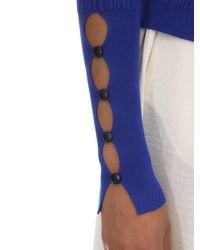 Suéter De Punto Acanalado De Viscosa Con Botones Jacquemus de color Blue
