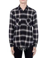 Camisa Shadow De Viscosa Y Algodón A Cuadros Amiri de hombre de color Black