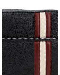 Bally Black Logo Stripe Leather Messenger Bag for men