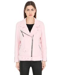 Route Des Garden Pink Mermaids Embroidered Velvet Biker Jacket