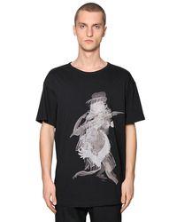 Yohji Yamamoto Black Over Printed Cotton Jersey T-shirt for men