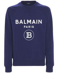メンズ Balmain コットンジャージースウェットシャツ Blue