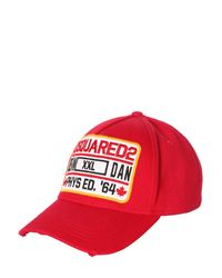 DSquared² Red Baseball Hat W/ Logo Patch for men
