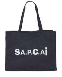 メンズ A.P.C. Sacai Candy デニム&ナイロントートバッグ Blue