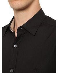 Burberry Black Stretch Poplin Shirt W/ Check Details for men