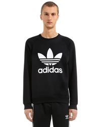 Adidas Originals Black Trefoil Printed Cotton Sweatshirt for men