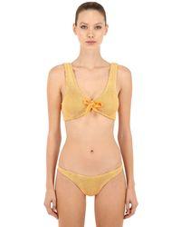 Bikini Triangular De Seersucker Hunza G de color Yellow