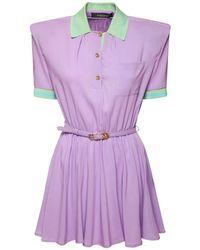 Versace ベルテッドストレッチビスコースミニドレス Purple