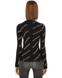 Balenciaga ロゴプリント リブニットセーター Black