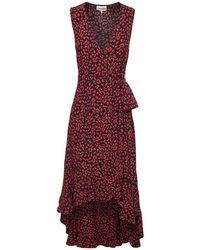 Ganni プリントクレープラップドレス Red