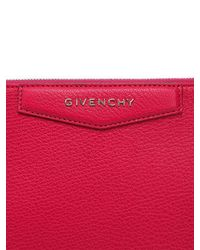 Givenchy Red Large Grained Leather Pouch