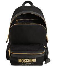 Moschino Black Medium Rucksack Aus Nylon Mit Couture-logo