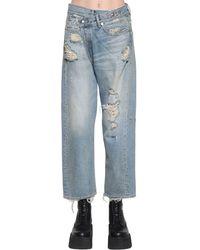 R13 Blue Cross Over Distressed Cotton Denim Jeans