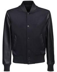 メンズ Givenchy レザー&ネオプレンボンバージャケット Black