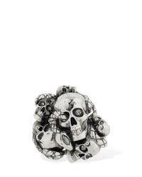 Alexander McQueen Ring Mit Schädeln Und Schlange in Metallic für Herren
