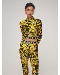 Versace Jeans Multicolor Printed Jersey Crop Turtleneck Top