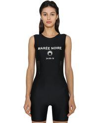 MARINE SERRE Black Marée Noire Print Lycra Short Jumpsuit