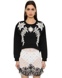 Francesco Scognamiglio Black Crystal Embellished Jersey Sweatshirt