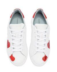 Chiara Ferragni - White 20mm Glittered Hearts Leather Sneakers - Lyst