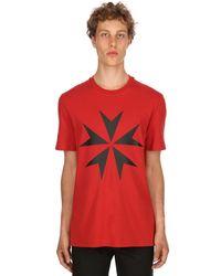 Neil Barrett Red Star Printed Cotton Jersey T-shirt for men
