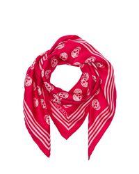 Alexander McQueen Pink Schal Aus Seidentwill Mit Schädeldruck
