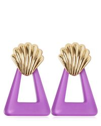 Rixo Purple Shell & Triangle Resin Earrings
