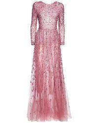 Платье Из Тюля С Вышивкой Valentino, цвет: Pink