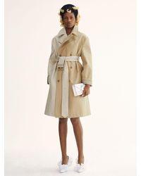 Trench-Coat En Gabardine De Coton Bicolore MM6 by Maison Martin Margiela en coloris Natural