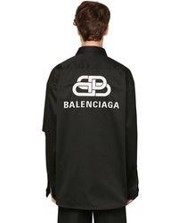 メンズ Balenciaga オーバーサイズコットンツイルシャツ Black