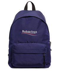 Balenciaga Nylonrucksack Mit Political-logo in Blue für Herren