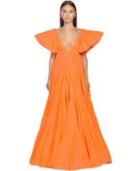 Платье Из Тафты С Рюшами Valentino, цвет: Orange