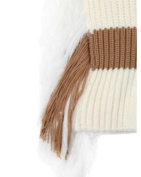 J.W. Anderson - White Ribbed Wool Blend Scarf With Fringe - Lyst