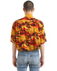Balenciaga Orange Hawaiian Print Poplin Short Sleeve Shirt for men