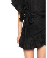 Étoile Isabel Marant Black Linen Ruffled Wrap Dress