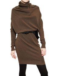 Lanvin - Brown Draped Wool Knit Dress - Lyst