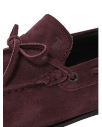 Tod's | Purple City Gommino Tie Suede Driving Shoes for Men | Lyst