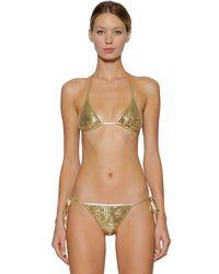 DSquared² Metallic Bikinioberteil Aus Lycra Mit Pailletten