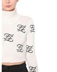 Fendi ウール&カシミアニット 刺繍セーター White