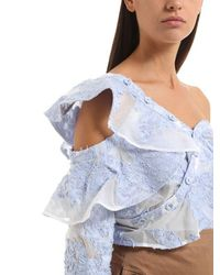 Self-Portrait - Blue Ruffled Cotton Fil Coupe Top - Lyst